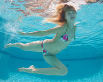 Smiling Model Under the water Royalty Free Stock Photo