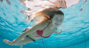 Smiling Model Under the water Stock Photo