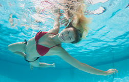 Smiling Model Under the water Stock Images