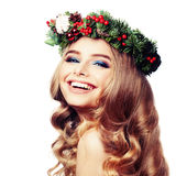 Smiling Model Woman with Christmas Wreath Isolated Royalty Free Stock Images