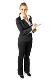 Smiling modern business woman with clipboard Stock Image