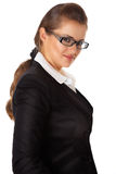 Smiling modern business woman with eyeglasses. Isolated on white stock photography