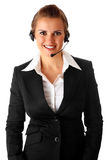 Smiling modern business woman with garniture. Isolated on white Stock Photo