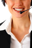 Smiling modern business woman with garniture Stock Images
