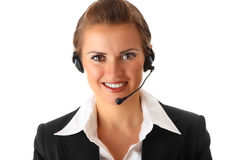 Smiling modern business woman with headset Royalty Free Stock Photography