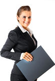 Smiling modern business woman holding folders. With documents isolated on white Royalty Free Stock Image