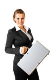 Smiling modern business woman holding  suitcase Royalty Free Stock Images