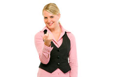 Smiling modern business woman ordering to come Royalty Free Stock Images