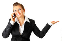 Smiling modern business woman talking on phone Royalty Free Stock Image
