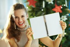 Smiling modern housewife showing notebook with open blank pages royalty free stock image