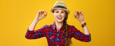 Smiling modern woman farmer isolated on yellow showing eggs Stock Images