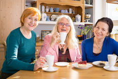 Smiling Mom Friends with Snacks Looking at Camera Stock Photos