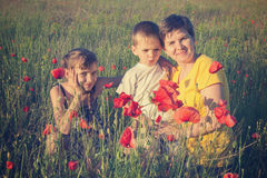 Smiling mom and her children. Happy day Royalty Free Stock Image