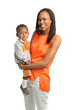 Smiling Mom Holding Baby Boy Standing Portrait Isolated Royalty Free Stock Photography
