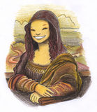 Smiling mona lisa painting. A funny smiling Mona Lisa. Pastels and felt pen Stock Photography