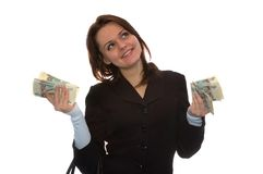 Smiling money girl. The girl holds a lot of money and smiles. Isolate on white Stock Photos