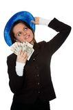 Smiling money girl. The girl holds a lot of money, smiles and look up. Isolate on white Stock Photo