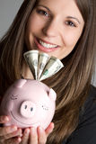 Smiling Money Woman Royalty Free Stock Photography
