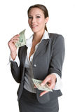 Smiling Money Woman Royalty Free Stock Images