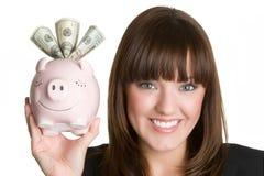 Smiling Money Woman Stock Photo