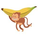 Smiling monkey with banana cartoon icon. Simple flat design smiling monkey cartoon icon  illustration Royalty Free Stock Photography