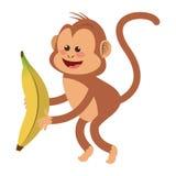 Smiling monkey with banana cartoon icon. Simple flat design smiling monkey cartoon icon  illustration Royalty Free Stock Photo