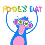 Smiling Monkey First April Fool Day Happy Holiday Greeting Card. Flat Vector Illustration Stock Photos
