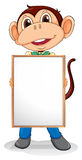 A smiling monkey holding an empty board Royalty Free Stock Images