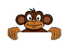Smiling monkey holding up an invisible frame Stock Images