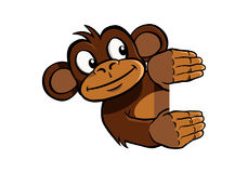 Smiling monkey holding up an invisible frame Royalty Free Stock Photo