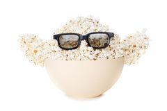 Smiling Monster of popcorn, glasses. Isolated on white Stock Photo