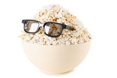 Smiling Monster of popcorn, glasses.  on white Stock Image