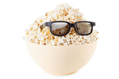 Smiling Monster of popcorn, glasses.  on white Royalty Free Stock Photography