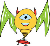 Smiling Monster with UFO Stock Photography