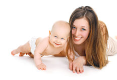 Smiling mother and baby together on white background Royalty Free Stock Image