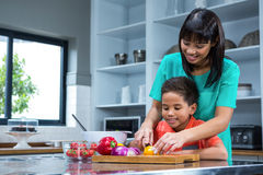 Smiling mother cooking with her son Stock Photos