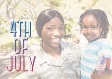 Smiling mother and daughter for the 4th of July Royalty Free Stock Images