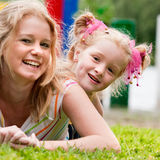 Smiling mother and daugther stock photo