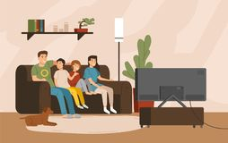 Smiling mother, father and children sitting on comfy sofa and watching television set. Happy family spending time. Together. Home entertainment. Colorful vector vector illustration