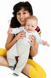 Smiling mother and happy baby first steps Royalty Free Stock Photo
