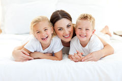 Smiling mother and her children Royalty Free Stock Photography