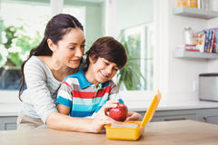 Smiling mother holding apple with son Stock Photos