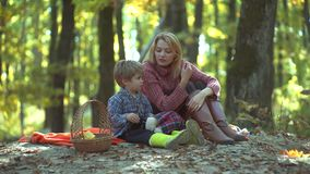 Smiling mother with kid having fun in autumn park. Colorful autumn woman portrait. Young parent and children having. Picnic and relaxing together on autumns stock footage