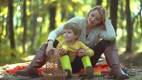 Smiling mother with kid having fun in autumn park. Mother and son having fun outdoor. Happy family with male children. Happy Autumn Family. Enjoying nice stock video footage