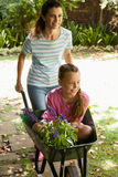 Smiling mother pushing girl with flowers sitting in wheelbarrow Stock Image