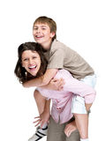 Smiling mother and son playing together Royalty Free Stock Images