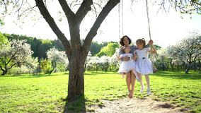 Smiling mother with two daughters swinging on swing in beautiful park. Static stock footage