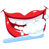 Smiling mouth, brushing teeth with a toothbrush Stock Image