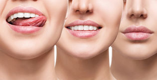 Smiling mouth collage of young girl. Woman with perfect lips and healthy smile. Collage of beautiful female lips. Healthy smile concept Stock Photos