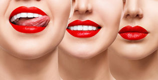 Smiling mouth collage of young girl. Woman with red lips and healthy smile. Collage of beautiful female lips. Healthy smile concept Stock Photo